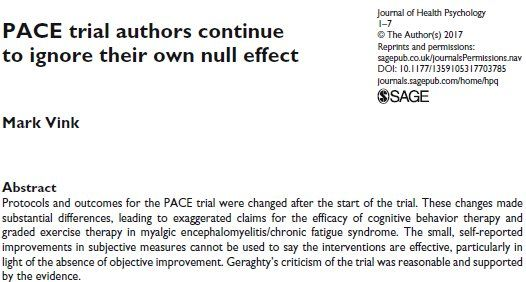 Open access paper on #PACETrial by an MD with #SevereME    http://journals.sagepub.com/doi/10.1177/1359105317703785 …    #MEcfs #CFS #MyalgicE #GradedExerciseTherapy #CBT #PwME