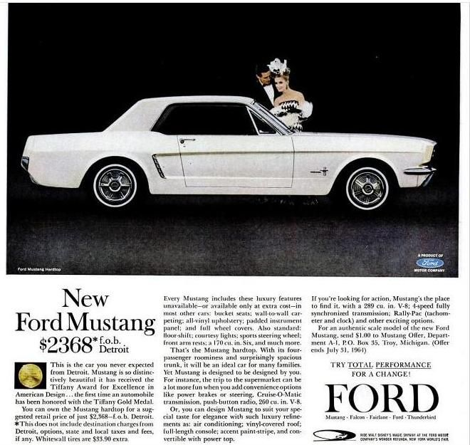 Ford Mustang; my first car... 1966 Navy Blue Mustang bought in 1970 for $700.