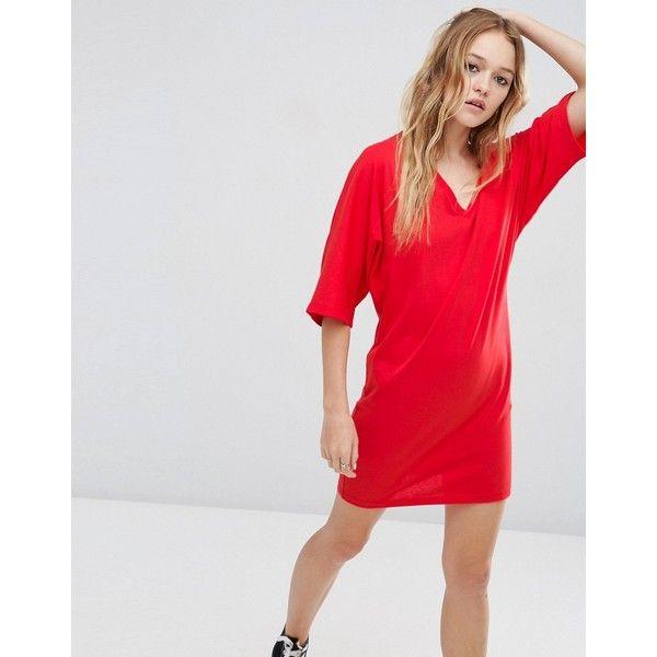 ASOS Mini T-Shirt Dress with Kimono Sleeve (£13) ❤ liked on Polyvore featuring dresses, red, kimono sleeve dress, cotton t shirt dress, oversized t shirt dress, red v neck dress and tee shirt dress