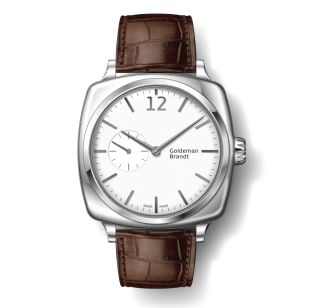 GB001-2 Stainless steel, Arched matte white dial with hand applied markers, Limited to 200 pieces