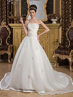 Strapless Sweetheart Ball Gown with Floral Embroidery Bodice - USD $269.99