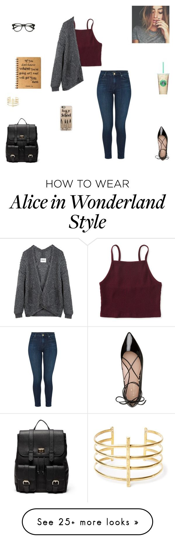 """""""back to school outfit #1"""" by synclairel on Polyvore featuring J Brand, Aéropostale, Kate Spade, Sole Society, BauXo and Casetify"""