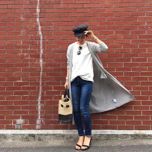 * Tシャツ×デニムのシンプルコーデ 暖かいのでロングカーディガンがアウター代わりにちょうどいい季節♡^ ^ * * コーデの詳細はBlogにアップしました♩ 是非ご覧いただけると嬉しいです♡^ ^ * * #fashion #outfit #coordinate #ootd #simple #basic #casual #nostalgiajp #freesmart #denim #denimlover #uniqloginza #doublestandardclothing #moussy #basketbag  #今日の服 #ファッション #シンプル #シンプルコーデ #ロングカーディガン #ノスタルジア #ノスジョ #デニム #ユニクロ #フリーズマート #マウジー #マリンキャップ #カゴバッグ #サンダル #ダブスタ