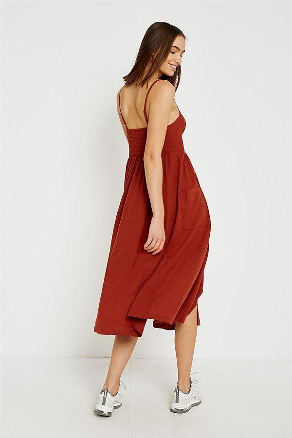 8c8b76af4c UO Emilia Rust Button-Through Midi Dress | ╟DIY╢ | Dresses, Jumpsuit dress,  Fashion