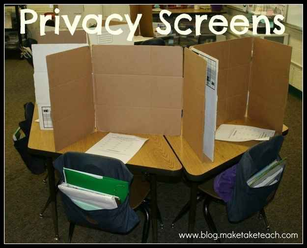 Cut up cardboard boxes to create privacy screens when students are taking tests or doing work that requires a lot of concentration.