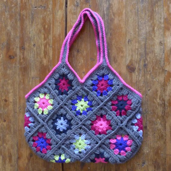 Granny Square Tote : Granny Square Market Tote Bag by YarnYetiDesigns on Etsy, $45.00