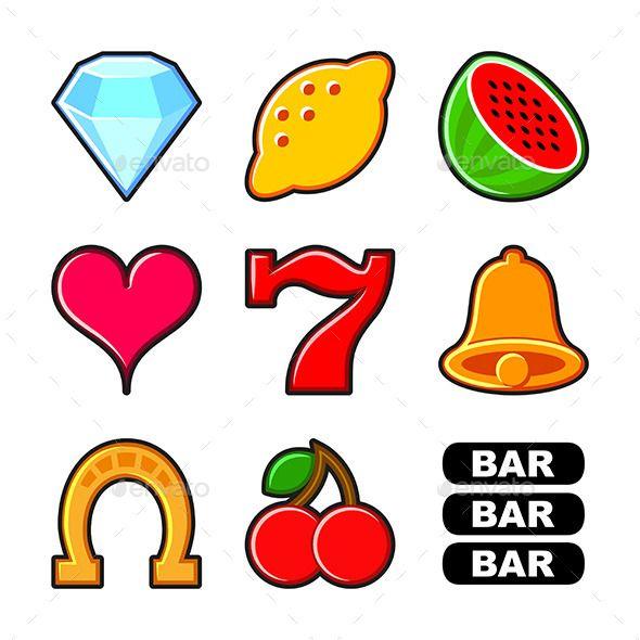 Slot Machine Icons Set - Decorative Symbols Decorative