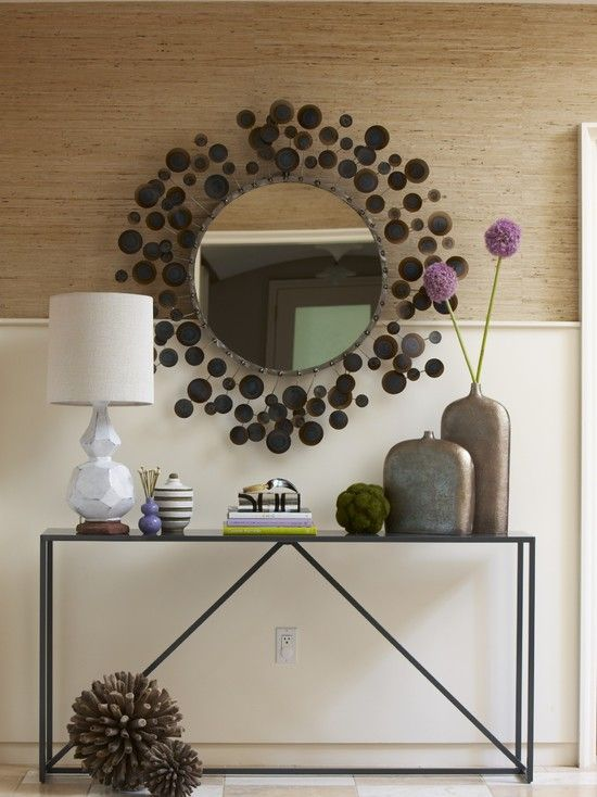 Rachel Reider Interiors   Entrances/foyers   West Elm Terracotta Table  Lamp, Chair Rail, Circle Mirror But Would Use A Narrow Entry Table W  Storage Benches ...