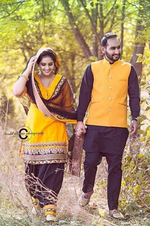 Pretty yellow punjabi suit