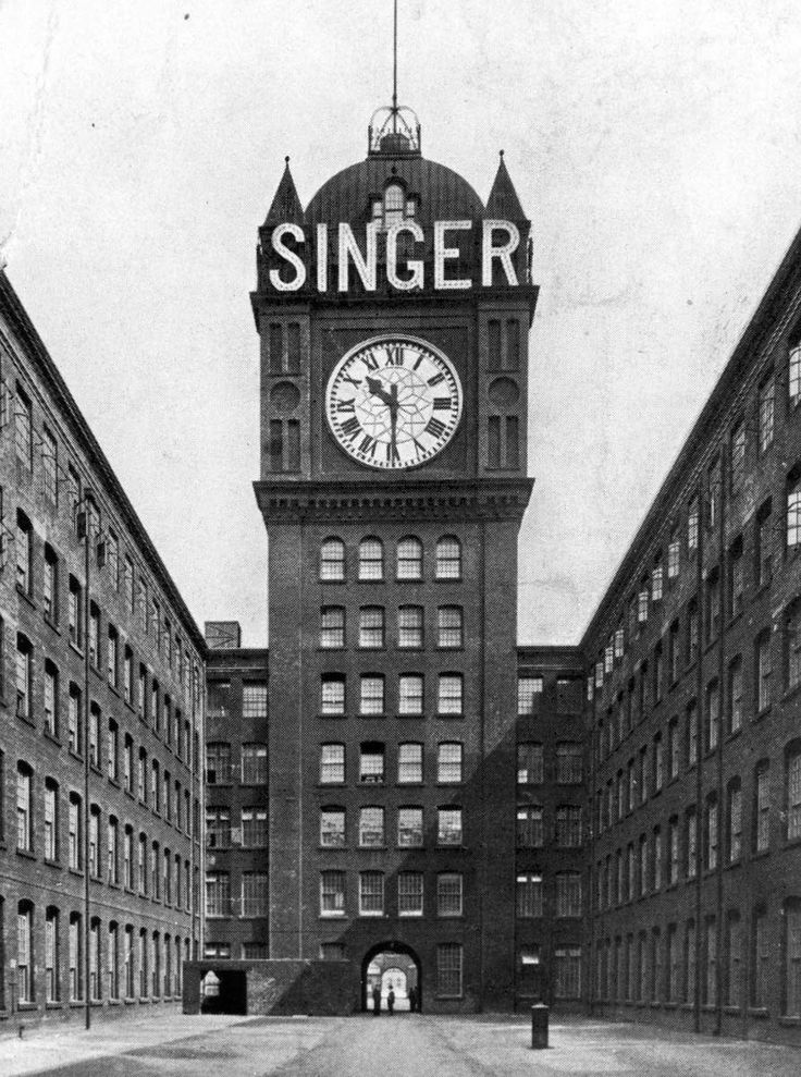 The famous Singer clock tower, pre 1928, Clydebank. The 200ft clock tower stood over the central wing and has the reputation of being the largest four faced clock in the world. Each face weighed five tons and it took four men fifteen minutes twice a week to keep it wound (Courtesy of West Dunbartonshire Council) #sewing