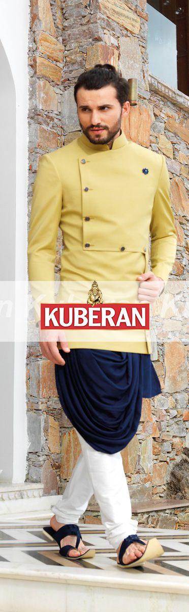 Kuberan Blue Yellow Sherwani #sherwani #traditionalwear #ethnicwear #indiansherwani #designersherwani #designerweddingsherwani #kuberansilks #bestsherwaniwedding #lovely #beautiful #lovesherwani