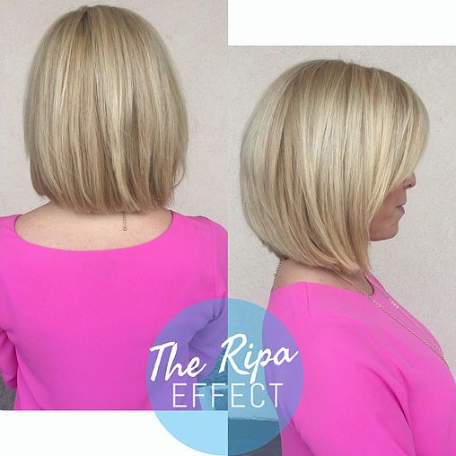 Looooving this Kelly Ripa inspired bob - not to mention the bright blonde.  Hairbyhal.com
