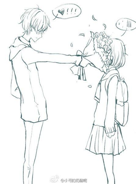 """anime couples. Lol!!!!"" - Boy: Here... *shoves flowers in face* Girl: ... - HAHAHA!!! Perfect love"