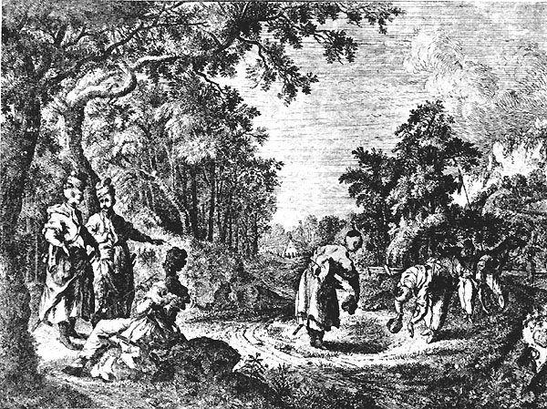 POWITANIE W LESIE - SCENKA RODZAJOWA, RYSUNEK Z WIEKU XVIII