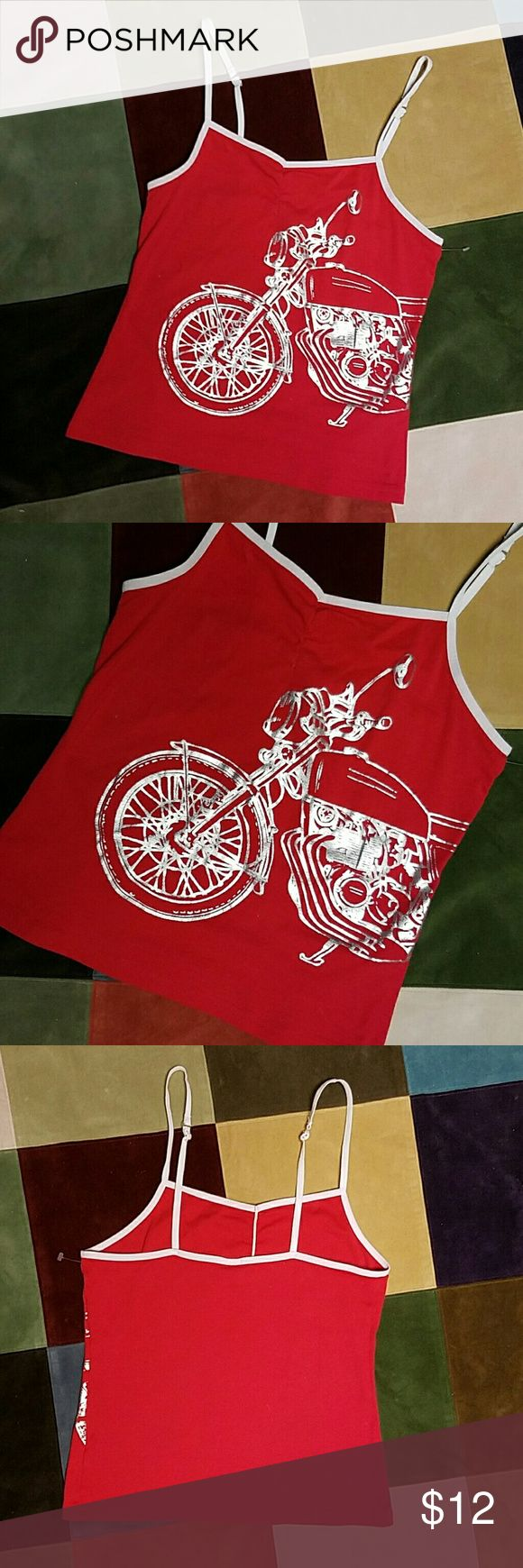 """Red true red Motorcycle Camisole Cami Shirt Top M Red cami trimmed with adjustable white stretchy Spaghetti straps.  Silver Motorcycle print 100% Cotton with stretchy trim. Size M Measures 28"""" bust edge to edge lying flat,  21"""" overall length from shoulder to bottom. Unknown  Tops Camisoles"""