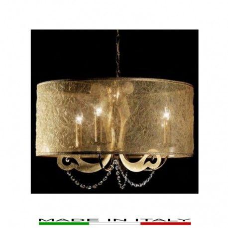 DAMA - Lampada a sospensione, struttura in metallo verniciato oro lucido 24 kt e foglia oro, diffusore e paralume in organza oro.