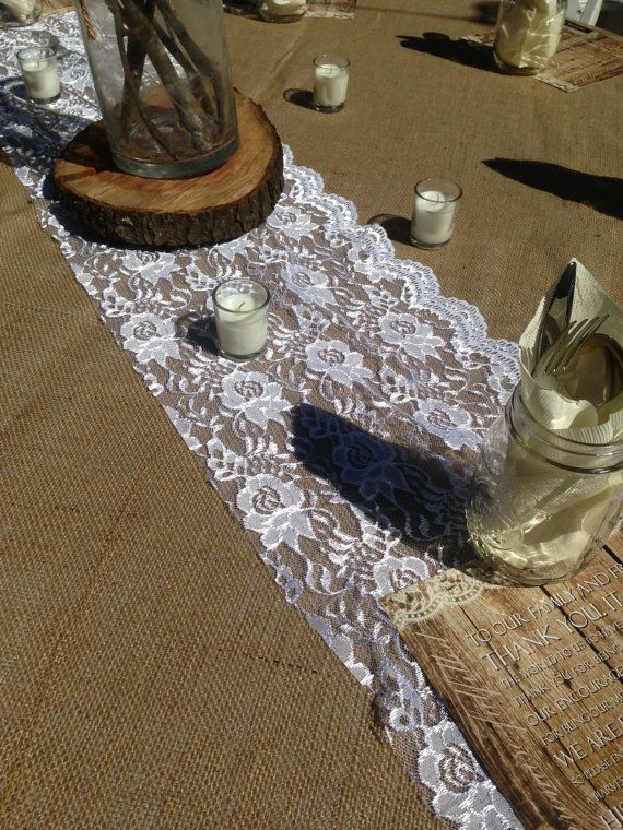 Shabby Chic White Lace Table Runners | Used at our #DIY Rustic/Barn Wedding