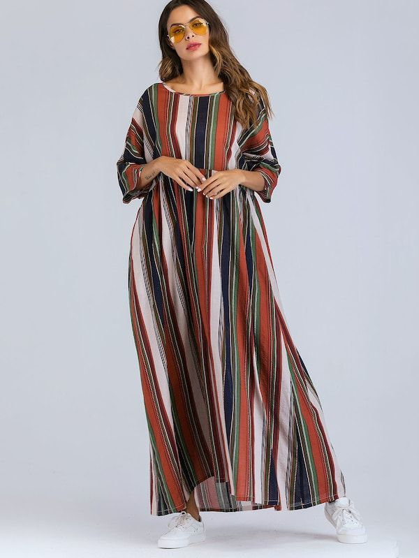 282f5a6d2d Colorful Striped Longline Dress in 2019   Women's Maxi Dresses ...