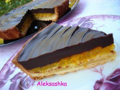Шоколадный тарт с апельсиновым желе