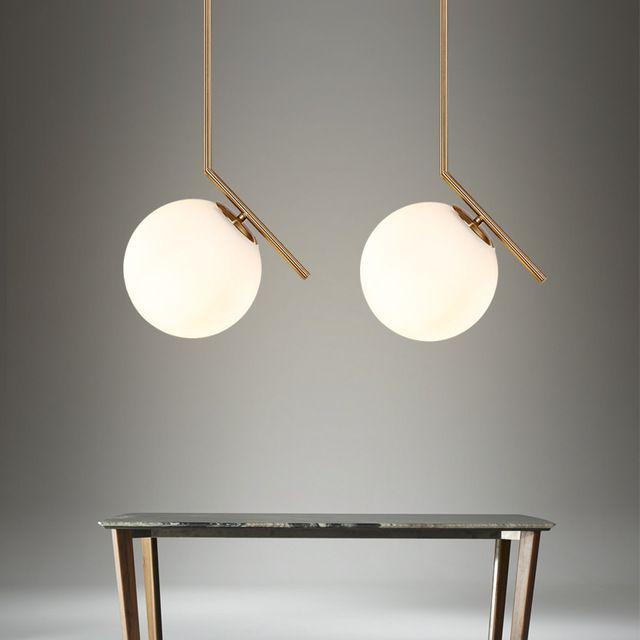 Nordic Glass Ball Pendant Lights Milk White Globe Round Led Light
