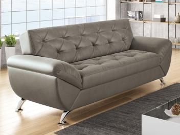 Sofá 3 Lugares Revestimento Suede Larissa Style - Linoforte com as melhores condições você encontra no Magazine Gileo. Confira!