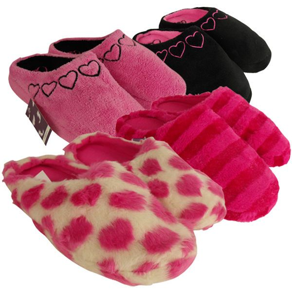 Womens Furry Comfort Warm Mules Slipper Ladies Mule Slippers Size Uk 3 4 5 6 7 8