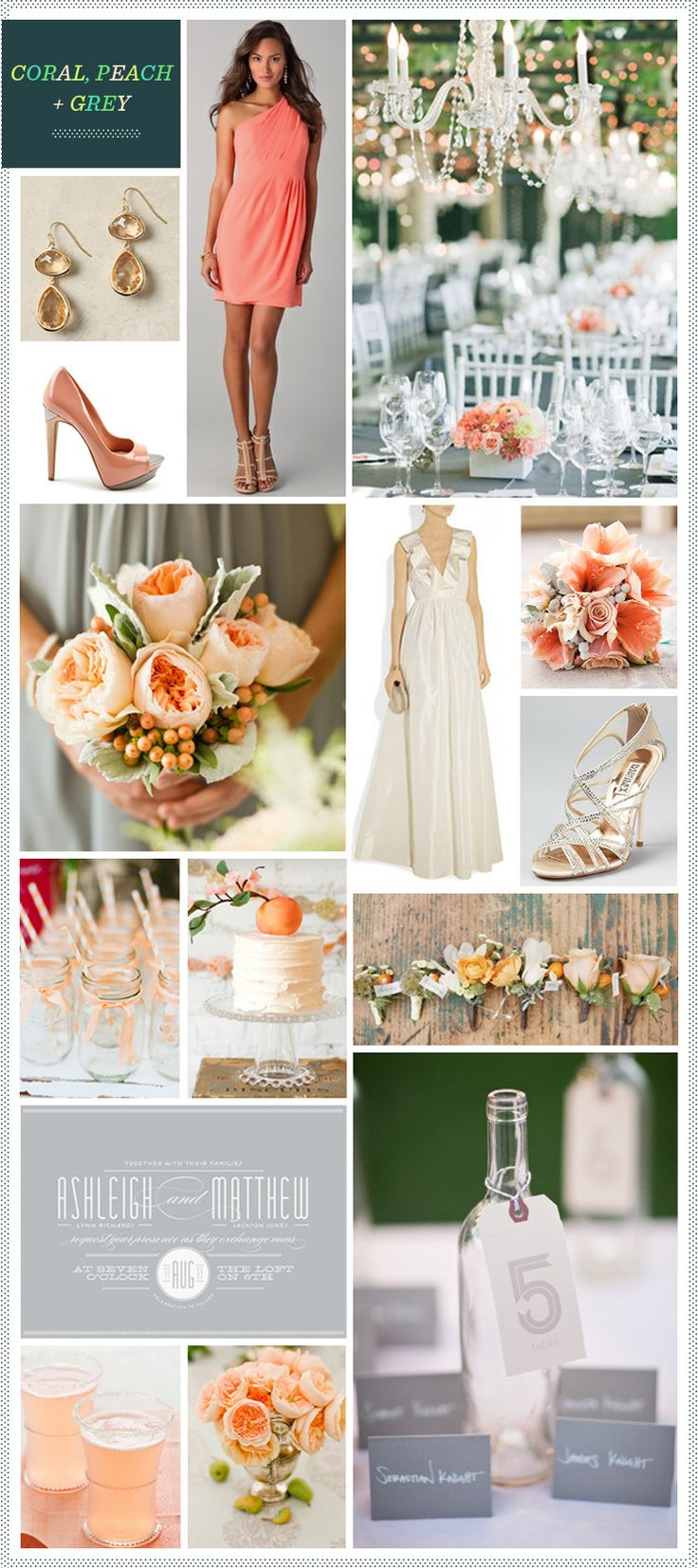 Coral And Grey Wedding Cakes