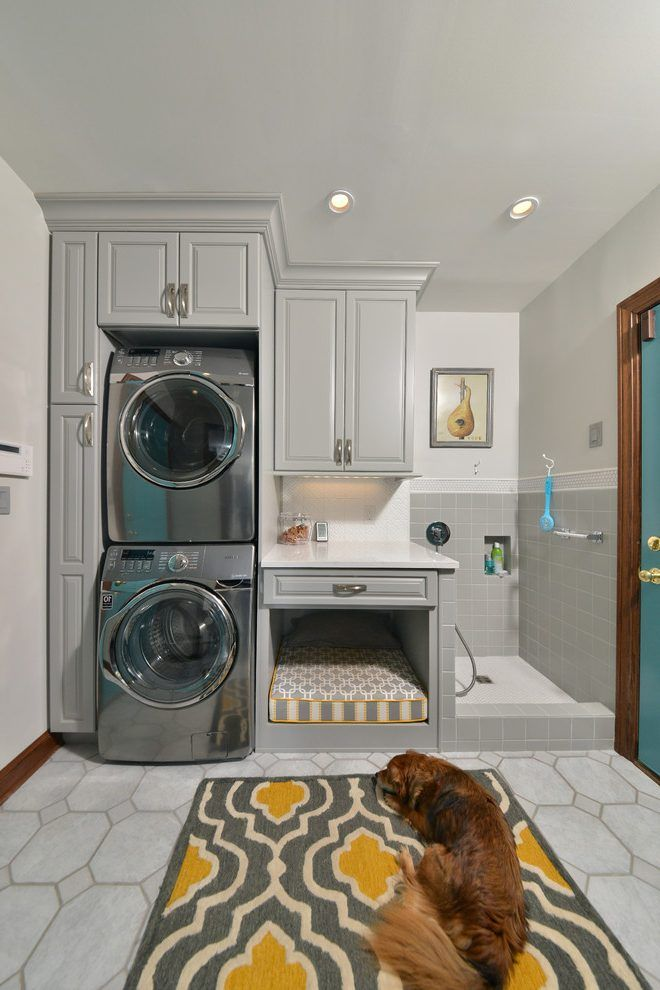 Small laundry room ideas stackable washer dryer laundry room traditional with dog wash dog grooming dog shower