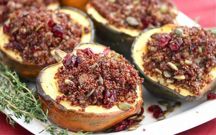 <p>This vegan Acorn Squash Stuffed With Quinoa Mushroom Pilaf is pretty enough to serve to company, and provides a nice healthy addition to any Thanksgiving spread.</p>