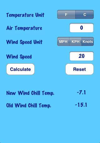 wind chill chart calculator Wind Chill Calculator 1.7