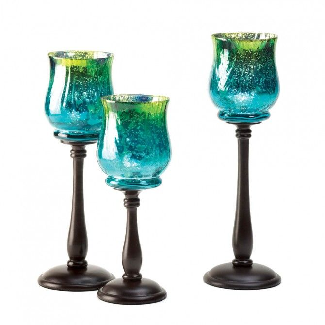 Share this page with others and get 10% off! Glass Blue Mediterranean Candleholder Trio