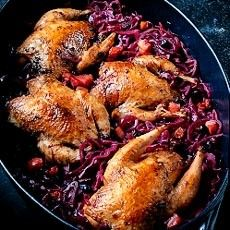 Pot-roasted Partridges with Red Cabbage, Garlic and Juniper.   This is a delightful way to serve plump little partridges, one per person, and the combined flavour of red cabbage, garlic and juniper are the perfect match.