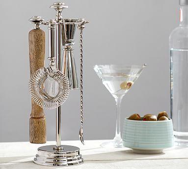 Harrison Bar Tool Set (stand, double jigger, strainer, bar spoon, muddler)