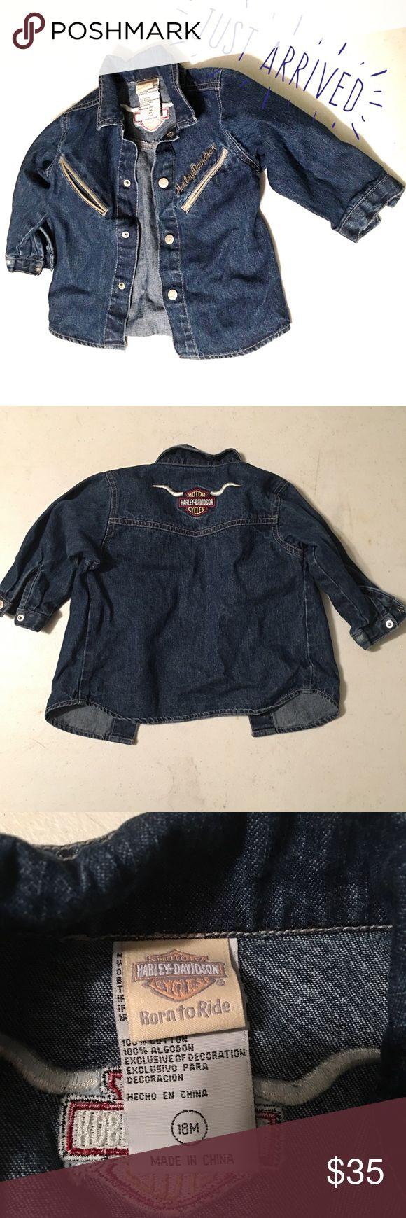 18M Boys' Harley-Davidson jean jacket. Harley-Davidson Jean jacket for toddler boys. Size 18M. Excellent condition. Harley-Davidson Jackets & Coats Jean Jackets