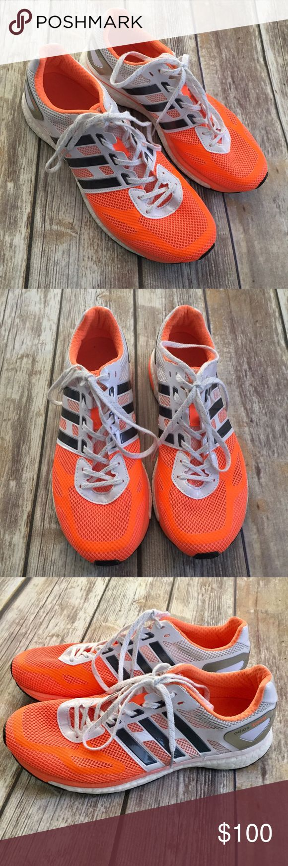Adidas Boost orange White Gray Shoes EXCELLENT! Orange/white/gray women's Adidas Adios Boost in size 9.5. This style runs small and these fit like a 9. These are in excellent condition and were only worn two times for about an hour each time. ❌Trades/holds❌ I ship within 72 hours of your order. I accept REASONABLE offers. Poshmark rules only. Thank you for 👀! 🚭🐩b2 Adidas Shoes Athletic Shoes