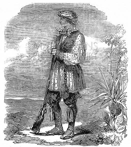 Noco-shimatt-tash-tanaki, Chief of the Seminole, c.1858. Portrait of a Seminole native American chief, Noco-shimatt-tash-tanaki, translated as Grisly Bear, c.1858. The Chief is seen wearing a magnificent short jacket, headscarf and tasselled belt.