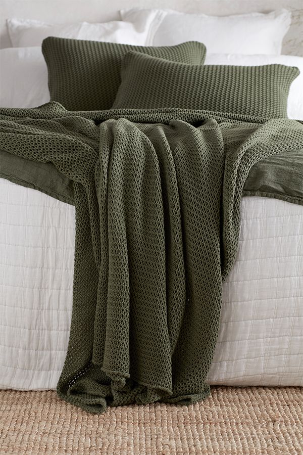 olive green bed throw and cushion cover