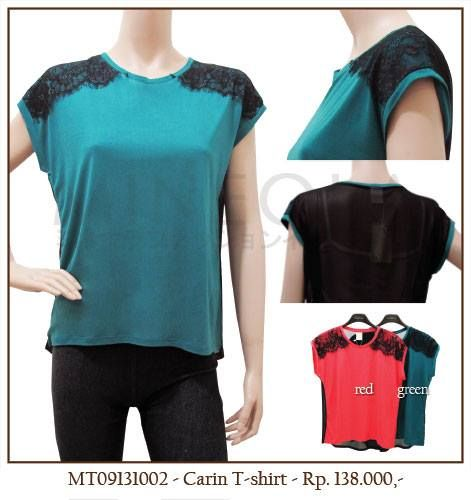#MINEOLA Carin T-Shirt Green. Also available in red color. Only Rp.138.000,- Bust: 100cm - Length: 65cm. Fabrics: chiffon + lace. Product code: MT09131002.  #MINEOLA #myMINEOLA #iWearMINEOLA #Fashion #OnlineShop #Indonesia #Jakarta #Brand #Import #Dress #Blouse #Top #Pants #Skirt #TokoBajuOnline #BajuImport #IndonesiaOnlineShop #OnlineShopIndonesia #FashionOnlineShop