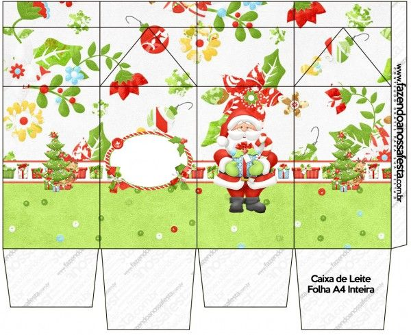 Santa en Fondo Verde: Cajas para Imprimir Gratis.