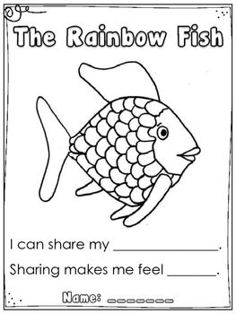 "Another quick creation I thought I would share. I read the book ""The Rainbow Fish"" to my Kindergarten class (also available in video format on YouTube or through Storyline Online). After the story, I lead a discussion about the importance of sharing. I asked my students what their most precious thing was."
