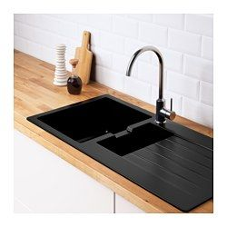 IKEA - HÄLLVIKEN, Einbauspüle 1½ Becken/Abtr, Inklusive 25 Jahre Garantie. Mehr darüber in der Garantiebroschüre.Die Spüle kann mit der Abtropffläche rechts oder links eingesetzt werden.Glatte, porenfreie Oberfläche, hygienisch und leicht zu reinigen.