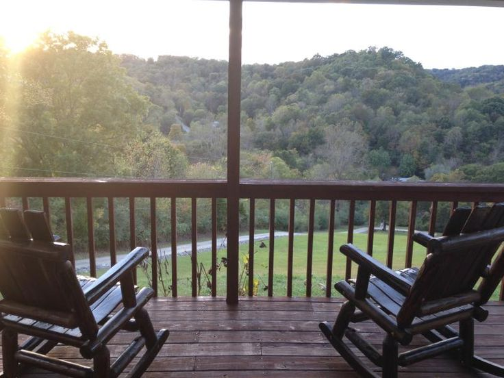 Enjoying Our View Of The Mountains From The Porch    Red Shed Log Rocking  Chairs