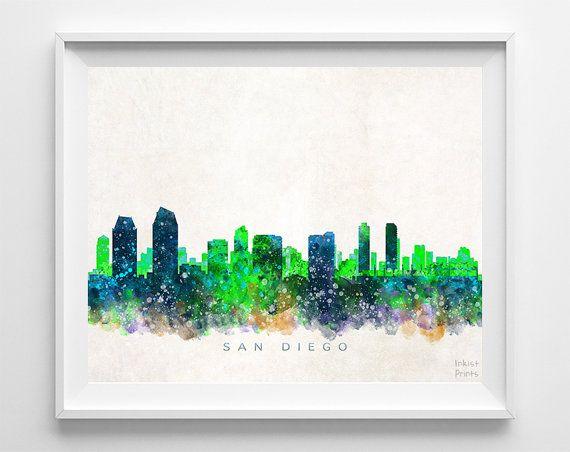San Diego Skyline Print Watercolor Print by InkistPrints on Etsy