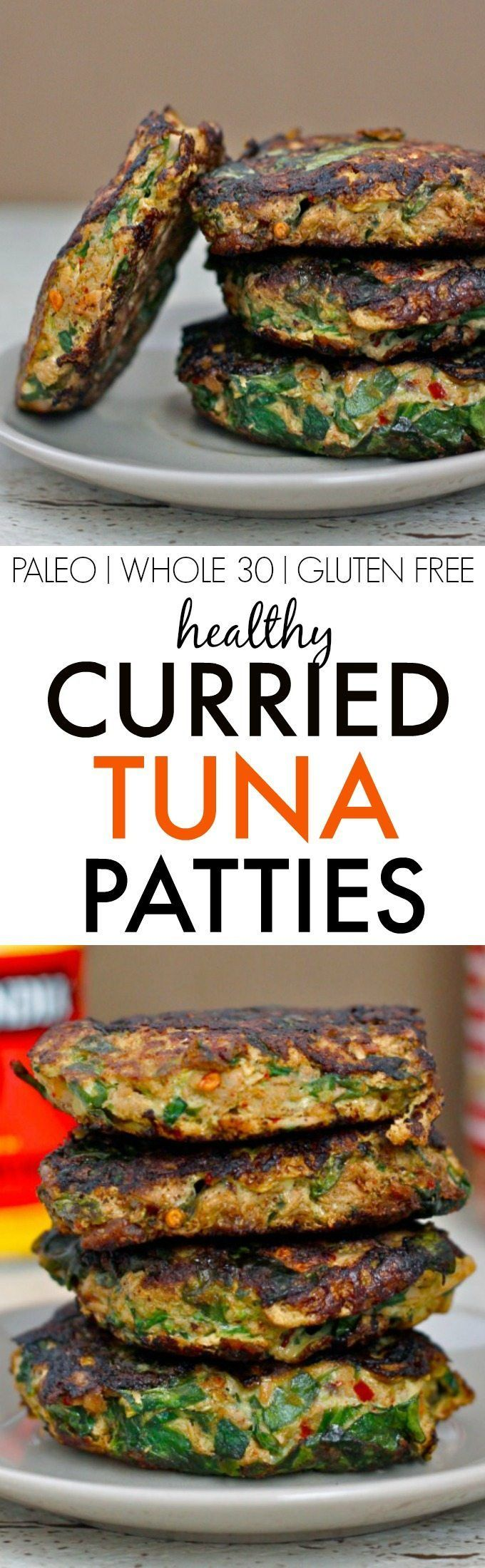Easy HEALTHY Curried Tuna Patties- Cost effective, easy, simple and freezer friendly, these delicious and satisfying patties are perfect for meals, lunch boxes or a low carb snack! {paleo, WHOLE 30, gluten free, grain free recipe}- http://thebigmansworld.com