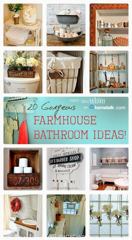 20 gorgeous farmhouse bathroom additions on Hometalk, featured on http://www.funkyjunkinteriors.net/