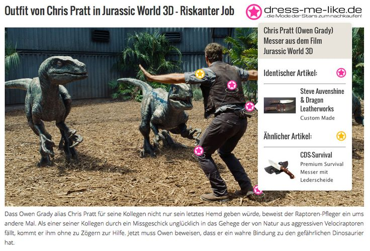 Chris Pratt (Owen Grady) Messer aus dem Film Jurassic World 3D