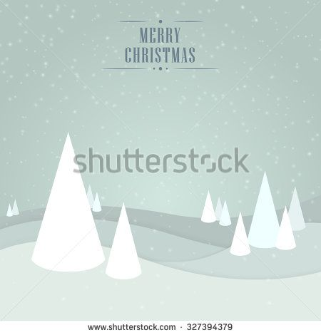Christmas vector light gray blue background with trees, snowflakes and wishes - stock vector