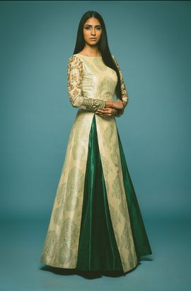 Mehendi Outfit - Cream and Emerald Green Lehenga | WedMeGood Cream and Green Brocade Silk Floor Length Tunic with Gold Zari Work on the Arms, Emerald Green Silk Skirt. Find more Lehenga designs on wedmegood.com #wedmegood #lehenga #mehendi
