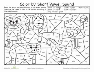 First Grade Phonics Color by Number Worksheets: Color by Short Vowel Sound Worksheet