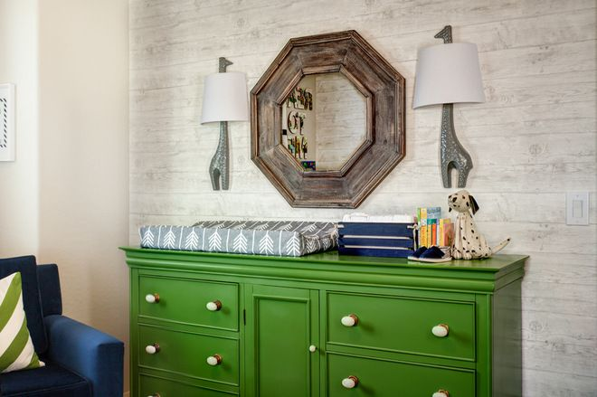 vintage dresser and painted green, new white porcelain knobs from Hobby Lobby